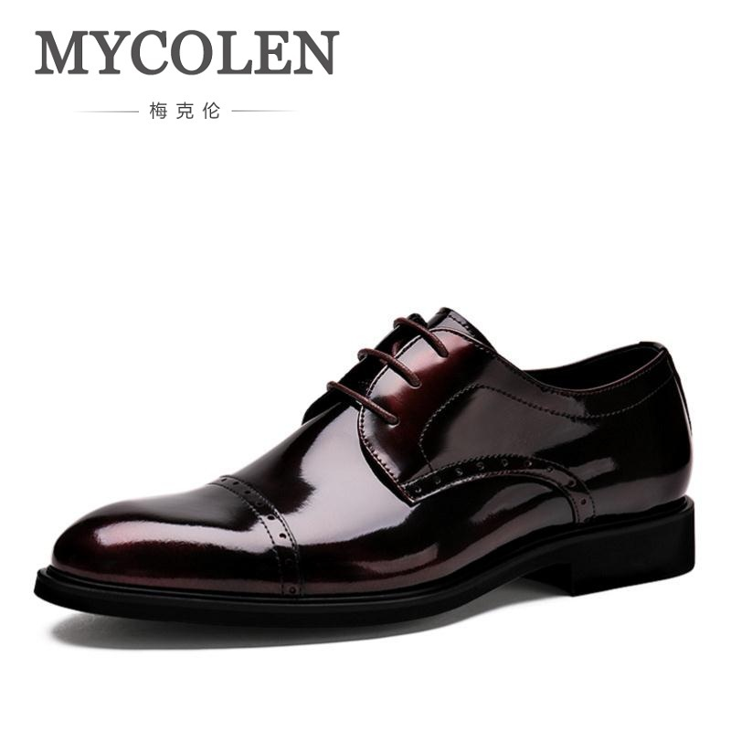 MYCOLEN Height Increasing Men Flats Shoes Breathable Wedding Shoes Flat Men Dress Shoes Business Pointed Toe Male Shoes