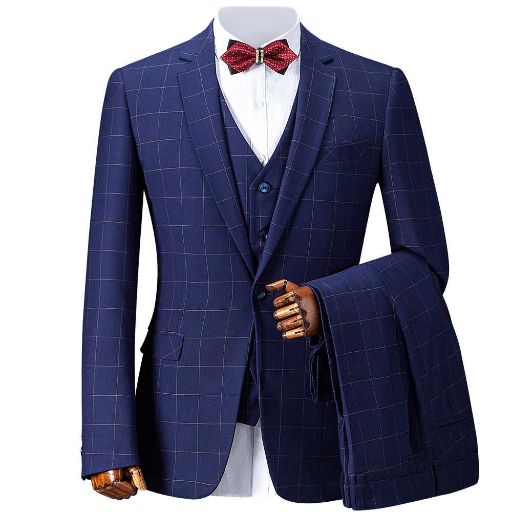 OSCN7 青のチェック柄カスタムメイドスーツ男性スリムフィットウェディングパーティーメンズオーダーメイドスーツファッション 3 ピーススーツ ZM-419 ZM-421