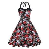 Hepburn Vintage Dress Retro Skull Rose Floral Printed Polka Dot 50s Rockabilly Skater Pin Up Swing Dress Women Summer Clothing