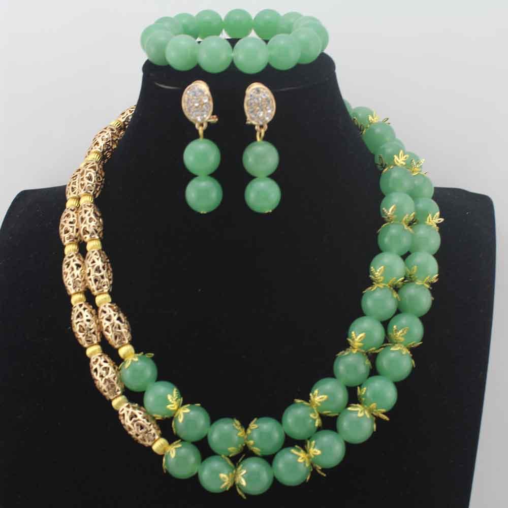 2019 nouveau nigérian mariage perles ensembles de bijoux vert africain Costume bijoux ensemble pour femmes boucles d'oreilles 14 MM perles rondes ensemble W13948