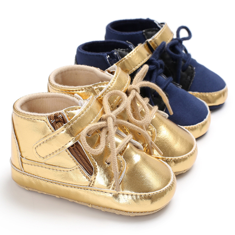 Fashion Golden PU Leather Newborn Baby Shoes Kids Boys Boot First Walkers Baby Moccasins T-tied Hook &Loop Boys Sneakers