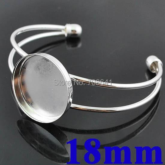 18mm Rhodium tone Plated Circle Deep Bezel Cabochons Cuff Bracelet Bangle Settings Findings Glass Dome making