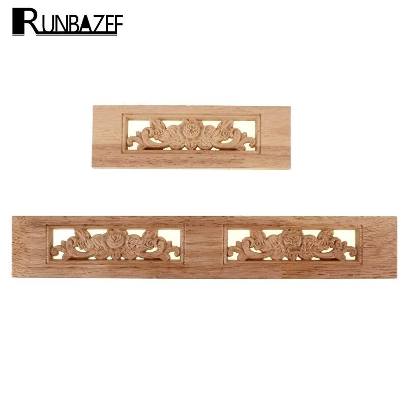 Runbazef Rose Floral Wood Carved Decal Corner Applique