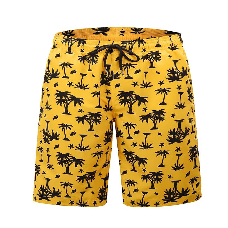 Summer Yellow Board Shorts Beach Surfing Swimwear Fitness Bodybuilding Swimming Trunks Coconut Tree Men's Bathing Suit