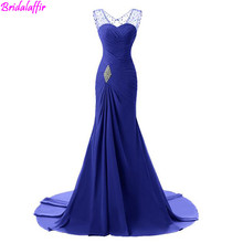2019 Lady Evening Dresses Long Crystal Chiffon Waist Party Dress Gown Navy Blue Elegant