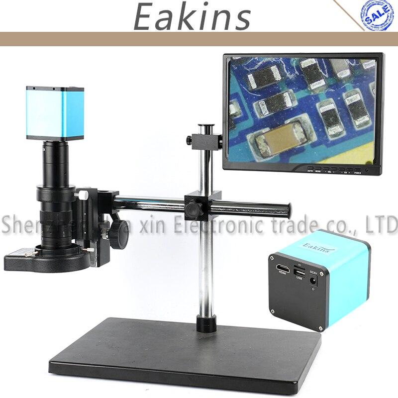 SONY Sensore IMX290 Auto Focale HDMI Video Industria Microscopio Della Macchina Fotografica + 120/180X C-Mount Lens 144 LED anello di Luce + 10.1