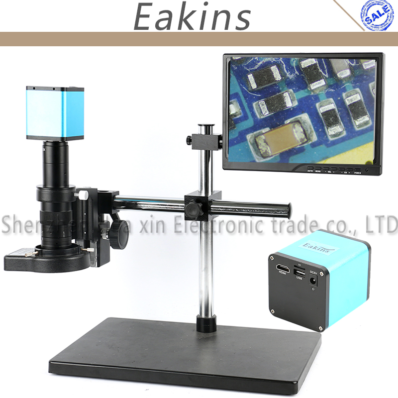 SONY Capteur IMX290 Auto Focal HDMI Vidéo L'industrie Microscope Caméra + 120/180X C-Monture 144 LED anneau Lumière + 10.1 LCD