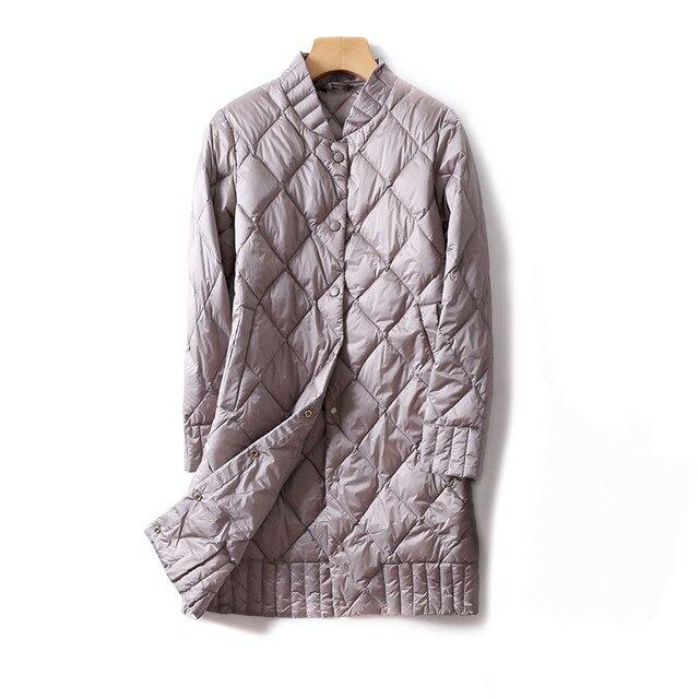 2018 осенне-зимнее женское белое пуховое пальто тонкая Ультралегкая пуховая куртка-Парка женская однобортная Длинная Верхняя одежда средней длины A991
