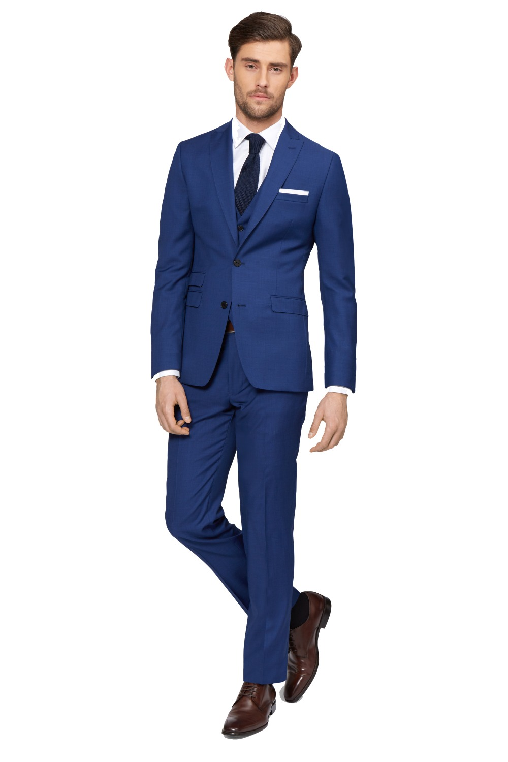 New arriving custom made 2 button peak lapel with ticket pocket mens suits slim fit 3pcs blue suit