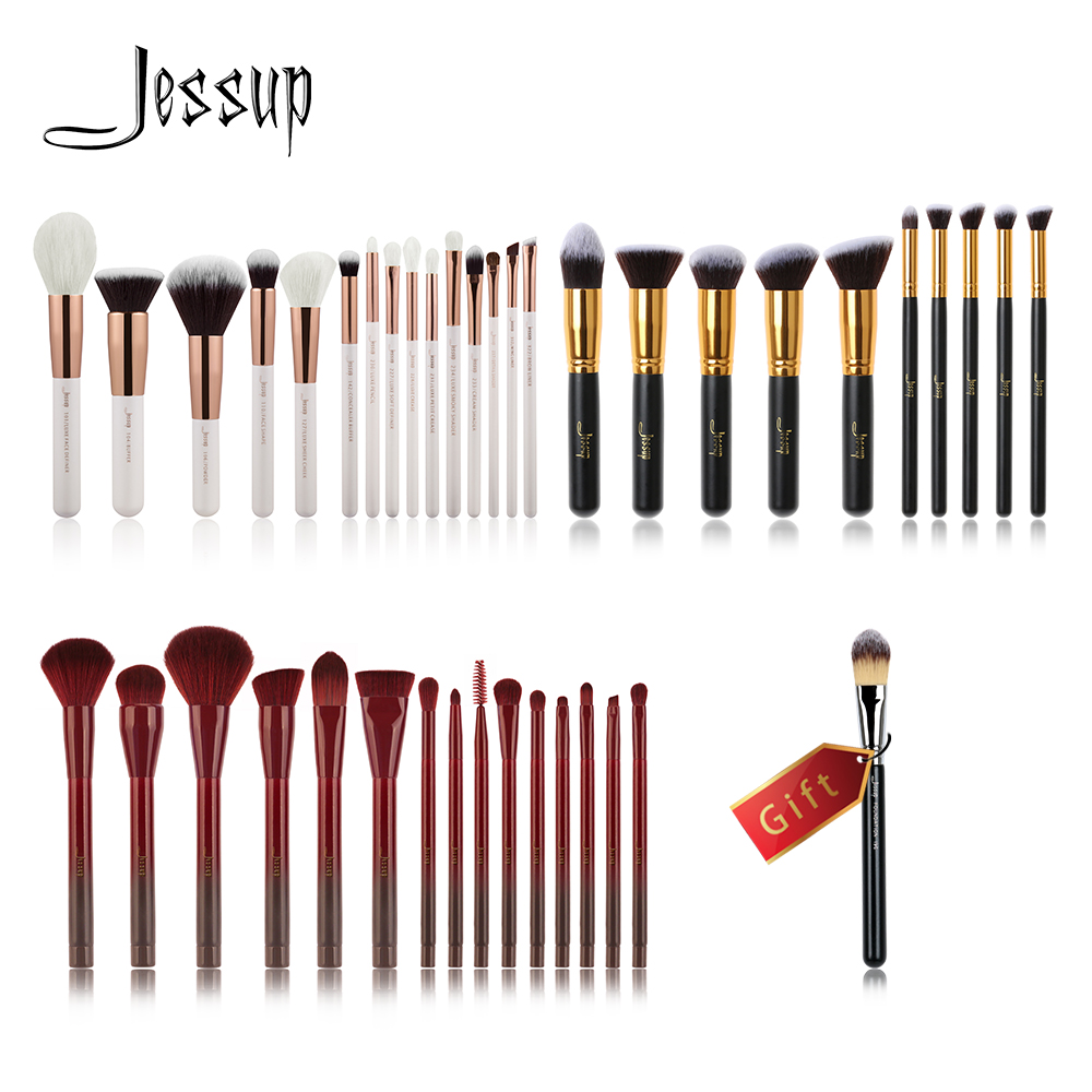 Jessup Buy 3 get 1 gift Makeup Brushes set Powder Foundation Eyeshadow Eyeliner Lip Cosmetics Make up Brush Definer Shader Liner 8pcs makeup brushes cosmetics eyeshadow eyeliner brush kit 15 color concealer facial care camouflage makeup palette sponge puff