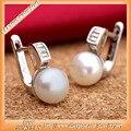 Freshwater pearl earring 925 sterling silver Euro Sinya Inglês bloqueio belas Jóias 2016 novo e quente brincos de argola para as mulheres
