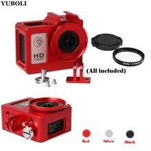 Alüminyum alaşımlı SJ4000 koruyucu muhafaza durumda Metal çerçeve Lens kapağı UV filtre SJCAM SJ4000 WIFI SJ6000 SJ7000 H9 aksesuarı