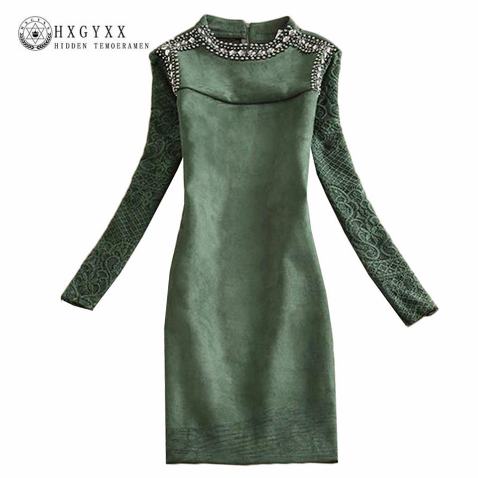 2017 New Autumn Winter Suede Dress Vintage Full Sleeve Rivet Beading Stand Collar Lace Stitching Slim