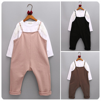 Girl Children's Garment 16 Autumn New Pattern Set Girl T Shirt Base Bottoming Unlined Upper Garment Jacket Salopettes You Suit