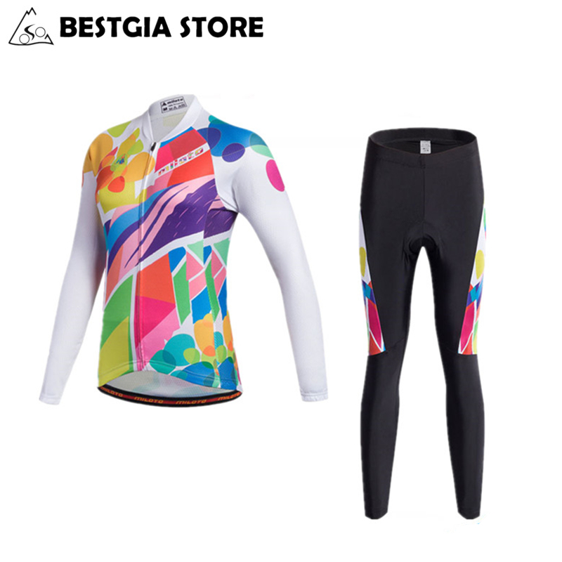 Miloto Women Female Autumn Cycling Jersey Breathable Waist Ropa Ciclismo Bike Clothing Maillot Bicycle Long Sleeve Cycling Suit women s cycling shorts cycling mountain bike cycling equipment female spring autumn breathable wicking silicone skirt