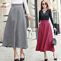 Autumn Winter High Waist Women Woolen Skirt A Line In Big Swing Skirt Black Red Plaid