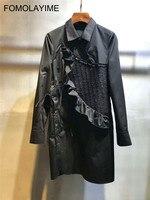 FOMOLAYIME Vestidos 2018 Новый Для женщин отложной воротник асимметричный тонкий одежда с длинным рукавом платье рубашка