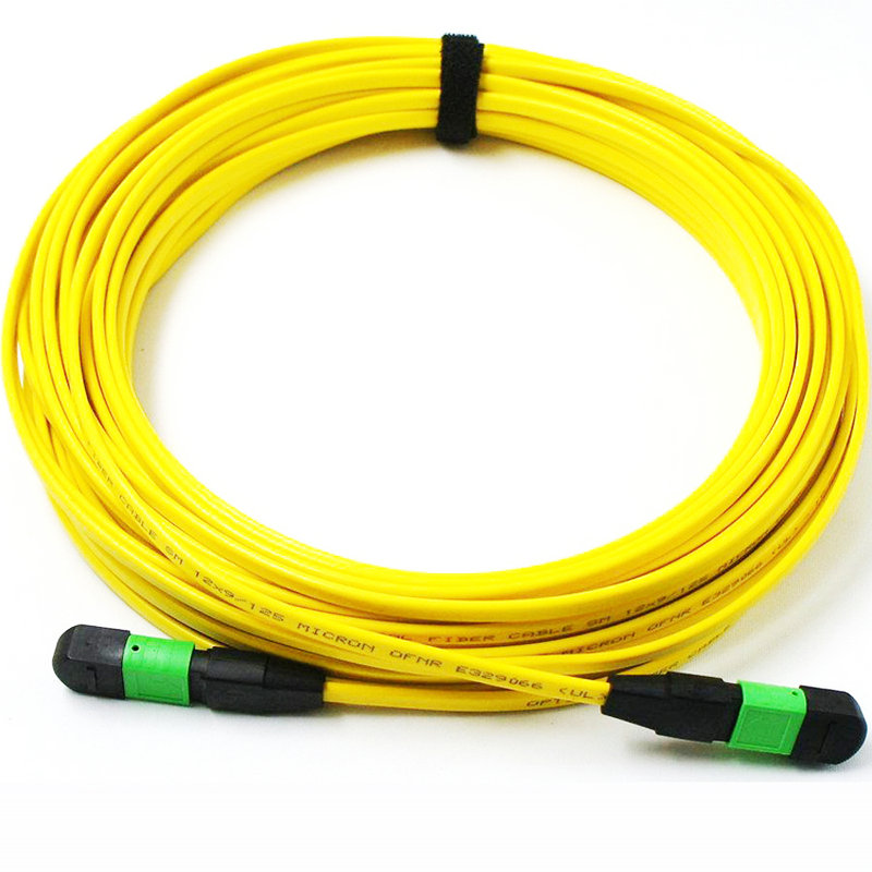 25Meters MPO/MTP(Female)-MPO(Female) APC Singlemode OS1 12strands Fiber Optical Cable For QSFP+LR Module (Method B)