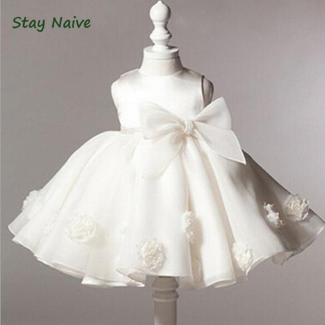 2017 summer baby girl christening gowns 1 year birthday dress Big bow fashion tutu wedding baptism dresses