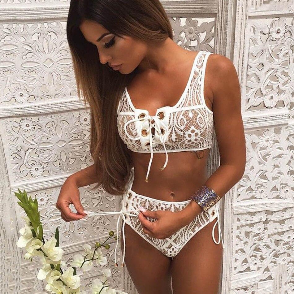 2018 Sexy Blcak Weiß Spitze Hohe Taille Badeanzug Bikini Set Solide Bikinis Frauen Push Up Bademode Banting Anzug Maillot De bain
