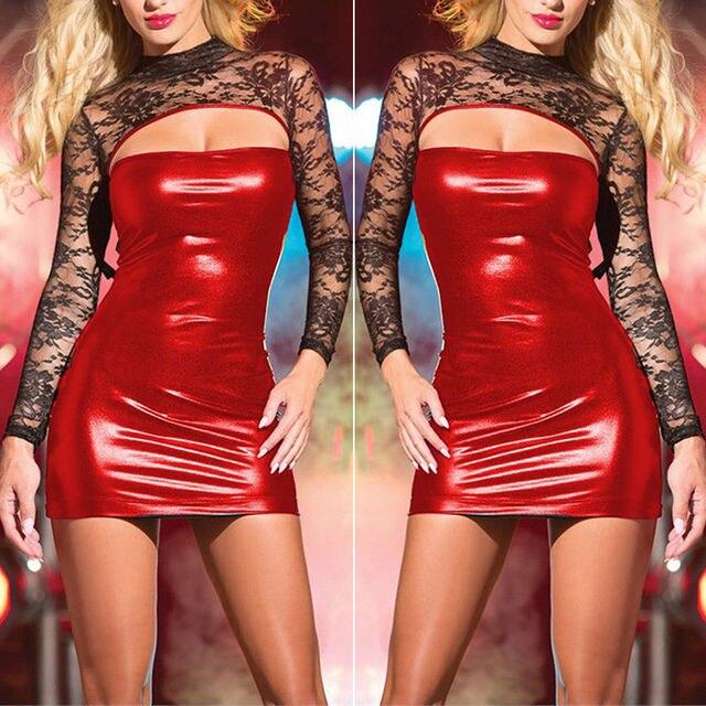 1ad9fbbd15163 US $3.55 16% OFF|Aliexpress.com : Buy PU Leather Sexy Dress Women Bodycon  Wet Look Slim Sheath Exotic Club Dance Wear Sexy Lingerie Dresses from ...