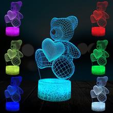 цена Teddy Heart Bear 3D Lamp Lighting LED USB Mood Table Love Night Light Action Toy Figures Luminaria Child Kid Toy Novelty Gift онлайн в 2017 году