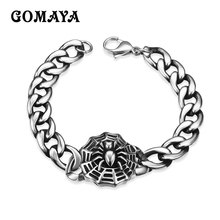 GOMAYA Retro Chain Punk Gothic Stainless Steel Spider Bracelet Mens Jewelry Wholesale Pulsera