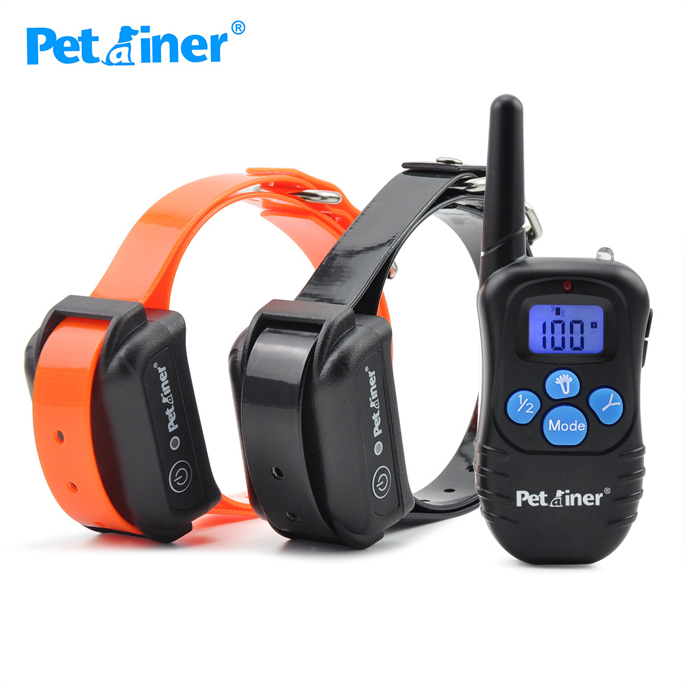 Petainer 998DBB 2 Collar Dog Shock Collar 300M Control Waterproof And Rechargeable Dog Electric Collar For