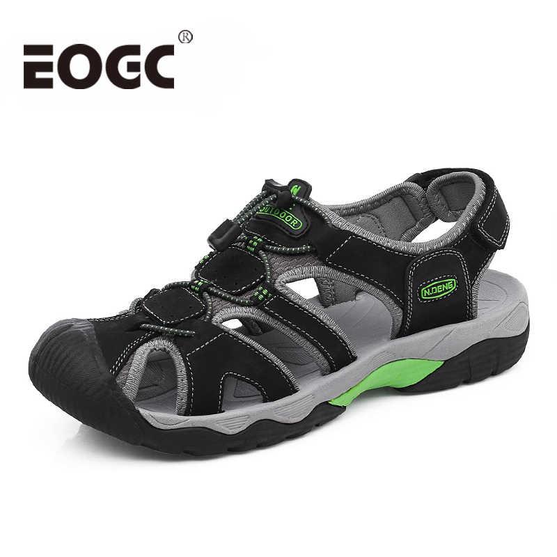 49d934ca23bb Модные мужские пляжные сандалии 2018 натуральная кожа мужские сандалии  Летняя кожаная обувь для пляжа уличная прогулочная