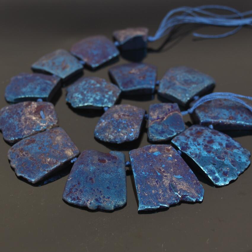 15.5strand Large Size Druzy Blue Titanium Ag ate Top Drilled Slab Slice Beads,Raw Stone Slab pendant graduated Nacklace Jewelry