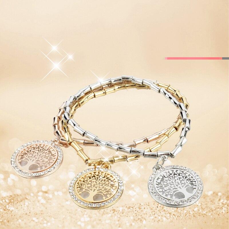 LongWay 3Pcs / Lot Gold Color Chain Crystal Bracelets and Bangles - Նորաձև զարդեր - Լուսանկար 3