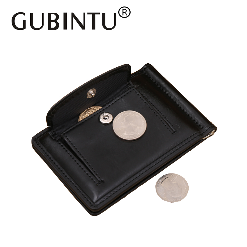 GUBINTU Leather Men Wallet Money Clips Cash Money Clip Small Zipper Coin Pocket Wallet for Man Gift