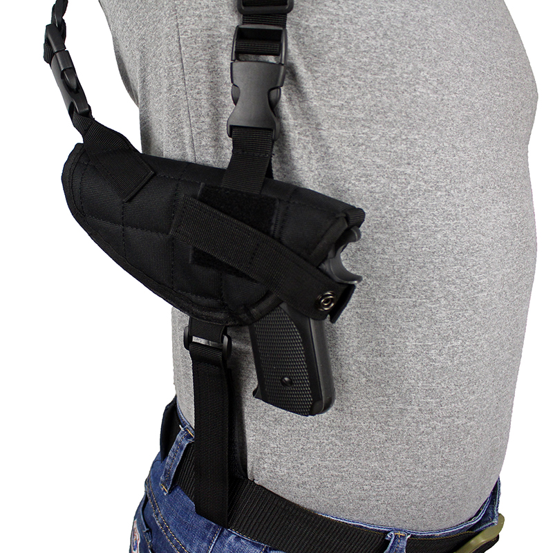 Tactical Double Draw Pistol Holster Concealed Hand Gun Shoulder Holster Under Arm Pistol Holster Soft Pouch Black glock17 quick release gun pistol holster black