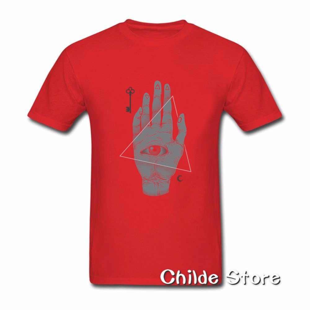 Всевидящее Око молодежи Винтаж футболки футболка для Для мужчин ведьмы ручной печати Для мужчин Иллюминаты предварительно хлопковые топы с короткими рукавами футболки