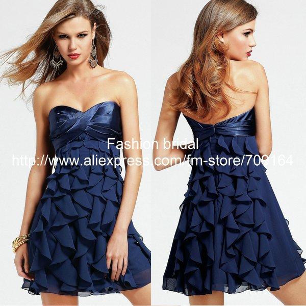 Aliexpress.com : Buy Fashion Sweetheart Ruffle A line Mini Navy ...
