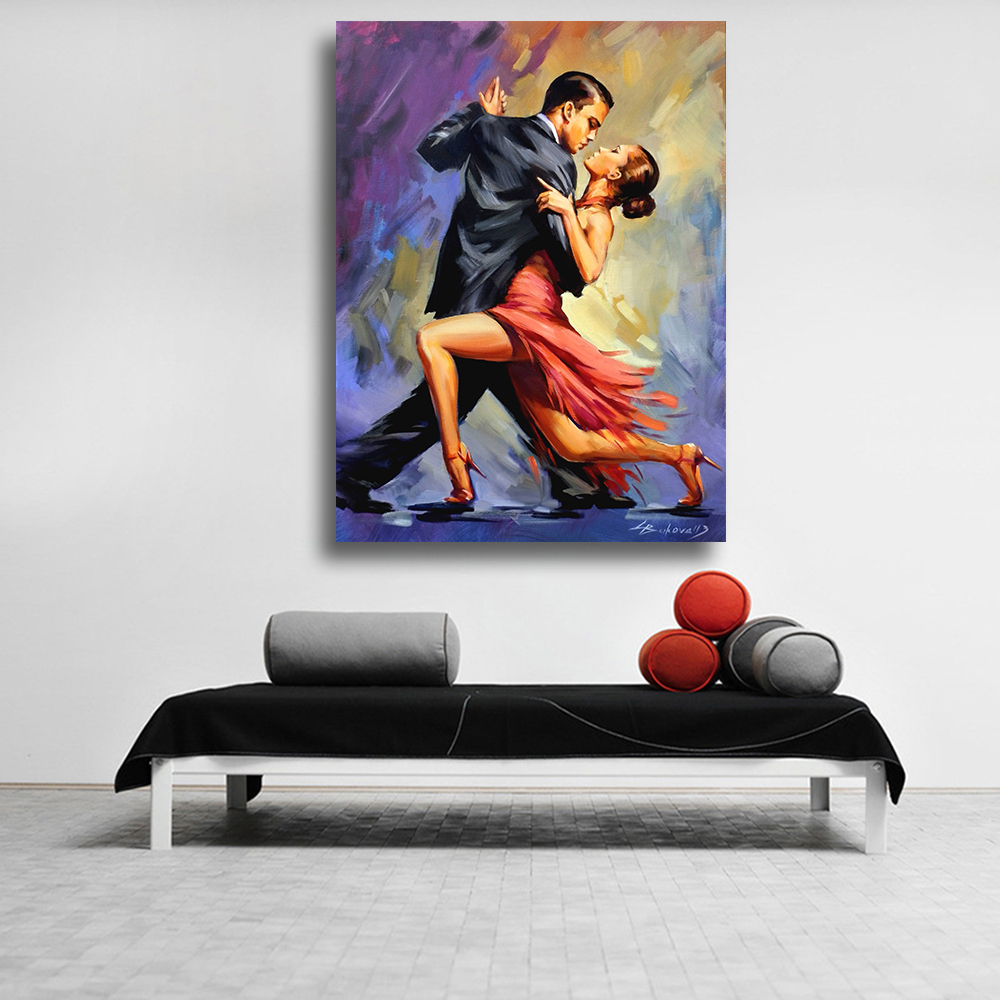 QKART Fine art Oil Painting Temptation of Tango Couple dancing tango original art Canvas wall Pictures for Living Room Decor