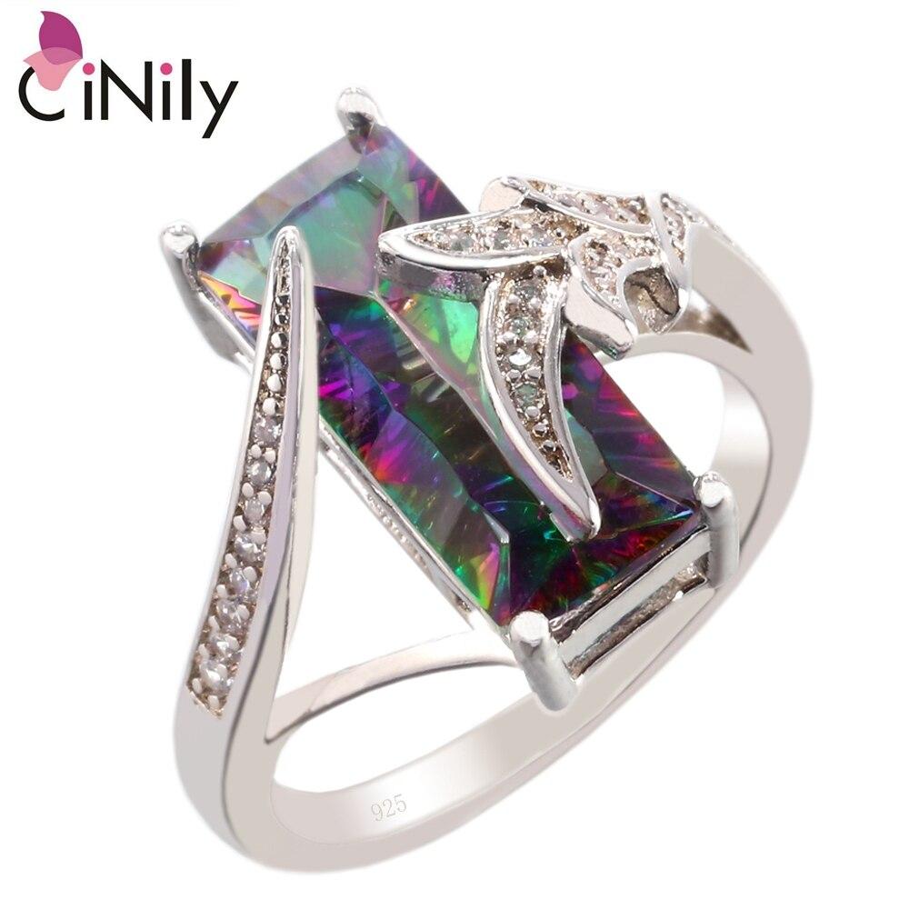 Cinily Mystic zirconia cubic zirconia plateado al por mayor 2018 nuevo estilo para las mujeres joyería tamaño del anillo regalo 6-10 NJ11054