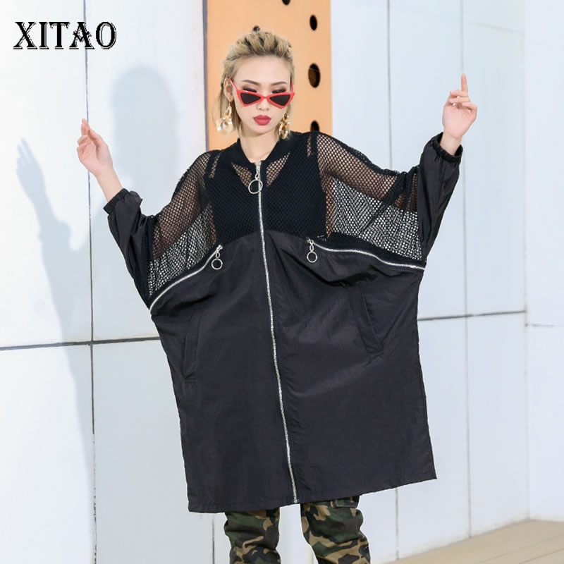 [XITAO] 2019 Spring New Women Korea Fashion O-neck Full Sleeve Loose Coat Female Solid Color Hollow Out Casual   Trench   DLL2806