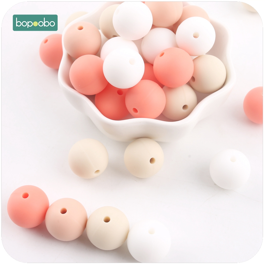 Bopoobo Baby Accessories 10pc 12mm Silicone Beige Series Bead Food Grade Silicone Teething Nursing Bracelet Beads Baby Teether