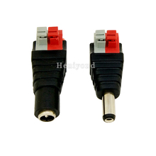 Купить с кэшбэком 10Pairs DC Connector for LED Strip Design Clip Spring Connector 5.5*2.1mm Male and Female DC Connector Adapter