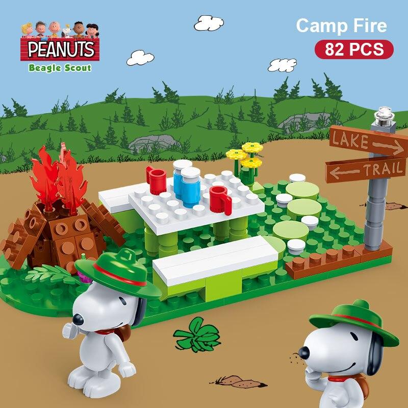 Peanuts Toy BanBao Snoopy Beagle Scout Camp Building Block Set 82 PCS