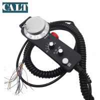 CNC Pulse Generator 6 Axis Universal Electronic MPG Pendant Handwheel & Emergency Stop manual pulse generator with Spring Cable
