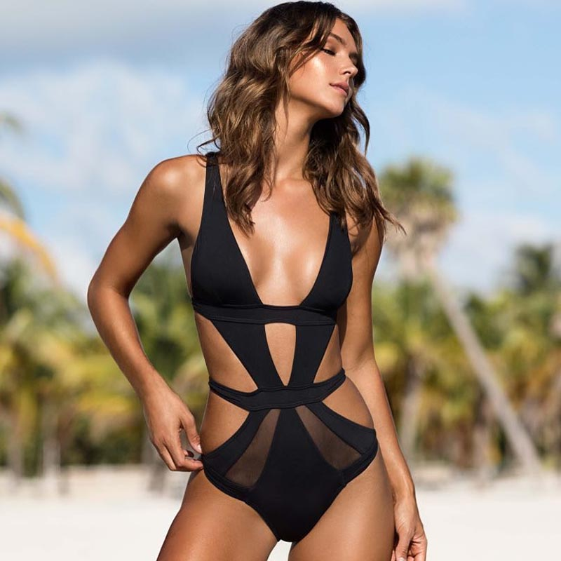 49434cbe7a Black One Piece Swimsuit Sexy Mesh Swimwear Women Cut Out Bathing Suit  Plunge V Monokini White Pink Swimming Costumes Trikini-in Body Suits from  Sports ...