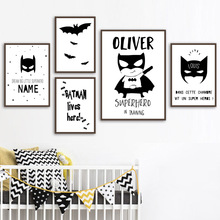 Personalized Custom Batman Name Superhero Wall Art Canvas Painting Nordic Posters And Prints Wall pictures For Kids Room Decor