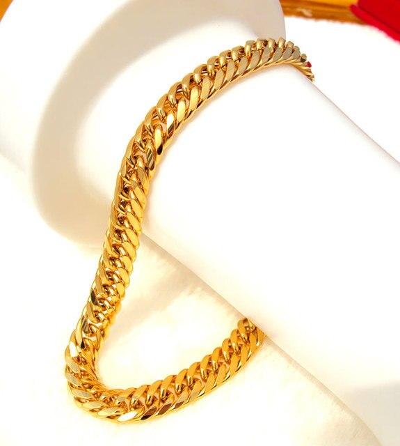 Mens Women S 24k Solid Gold Gf Finish Thick Miami Cuban Link Bracelet Chain