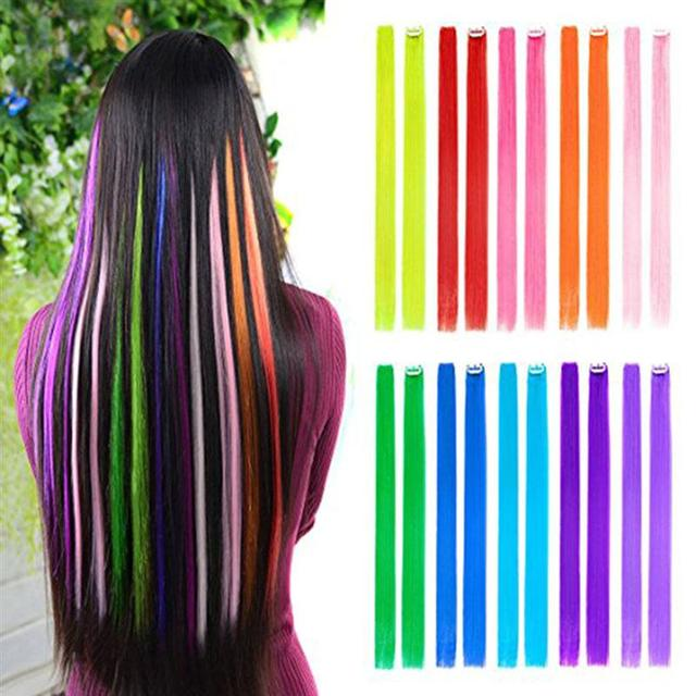 10pcs Colored Clip In Hair Extensions 22 Straight Fake Hair Pieces
