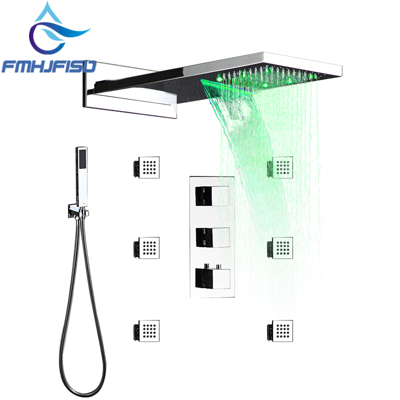 Thermostatic LED 22 Waterfall Shower Head Massage Jets Valve W/ Hand Shower SPA Body Massage Nozzle Jet LED Bath Shower Faucet