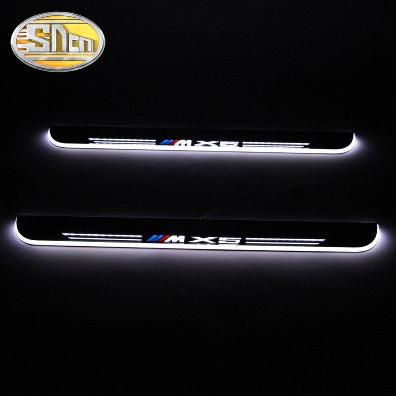 SNCN 4 pièces acrylique mobile LED bienvenue pédale de voiture plaque de seuil de pédale porte seuil voie lumière pour BMW X5 E70 F15 2007-2016 2017
