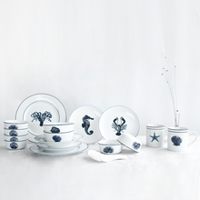 Креативные европейские керамические столовые наборы в океанском стиле, 5 шт., свадебный подарок, фарфоровая посуда, тарелки для супа/тарелка/кружка/миска