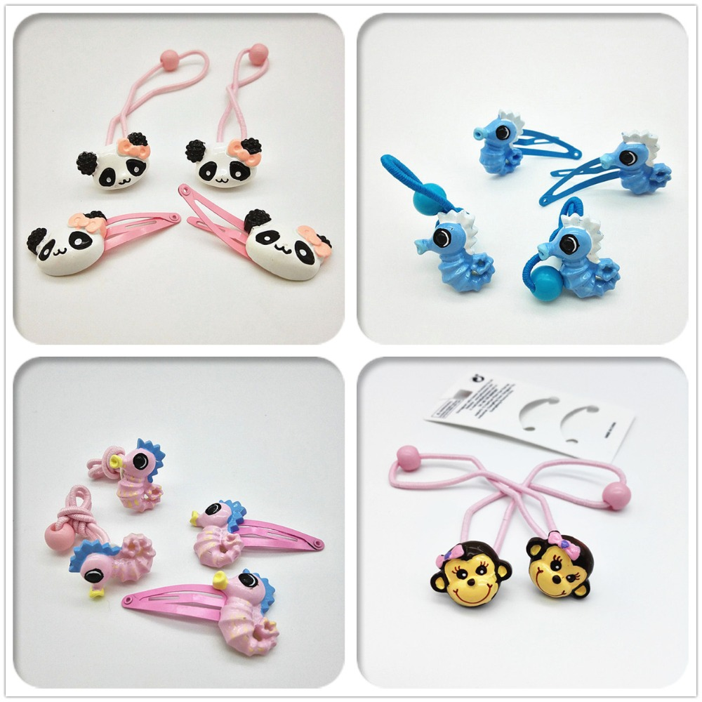 4PCS Cute kids animal Hairpins Girls Elastic Hair band toddlers hair clip ponytail holder Hair Accessories useful barrette T5 halloween party zombie skull skeleton hand bone claw hairpin punk hair clip for women girl hair accessories headwear 1 pcs